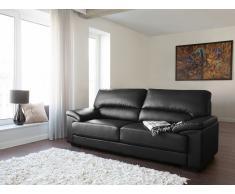 Canapé 3 places - Canapé en cuir - Canapé noir - Vogar