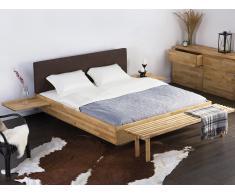 Lit design en bois - lit double 180x200 cm - brun - sommier inclus - Arras