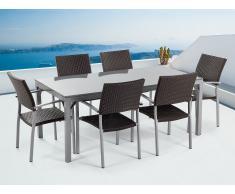 Ensemble de jardin - table en granit 180 cm - 6 chaises en rotin - gris poli - Torino