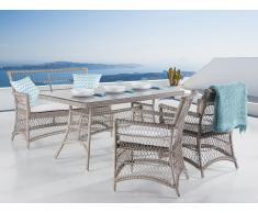 Table de jardin en rotin - 2 chaises et une banquette en rotin - coussins beiges - Barletta