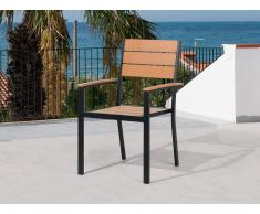 Chaise de jardin - Chaise - Aluminium et Polywood - Marron - Prato