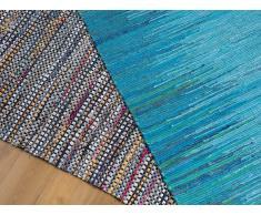 Tapis rectangulaire en coton - design fait à main - bleu - 80x150 cm - Alanya