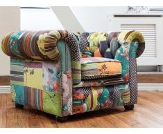 Fauteuil en tissu jaune - fauteuil design patchwork - Chesterfield