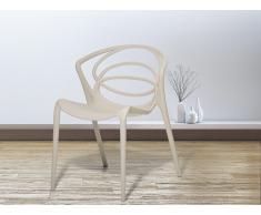 Chaise de jardin design - siège en plastique beige - Bend