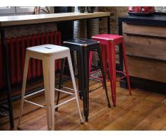 Tabouret de bar - Chaise de bar design - 60 cm - blanc doré - Cabrillo