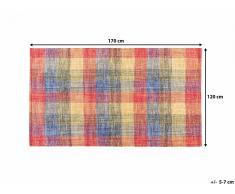 Tapis rectangulaire en coton - Tapis multicolore 120x170 cm - carreaux - Samsun