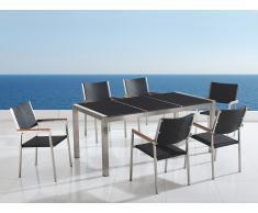 Table de jardin acier inox - plateau granit triple noir poli 180 cm avec 6 chaises en rotin - Grosseto