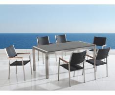 Table de jardin acier inox - plateau granit triple gris poli 180 cm avec 6 chaises en rotin - Grosseto