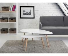 Tables basses - lot de 2 tables d`appoint - blanc - tables de salon - Fly