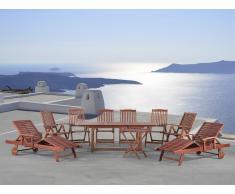 Ensemble de jardin, table + 6 chaises en bois, 2 transats, 1 table d'appoint - Toscana