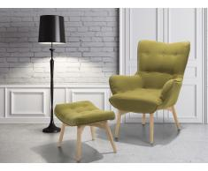 Fauteuil en tissu - Fauteuil tapissé vert olive - Repose-pieds - Vejle