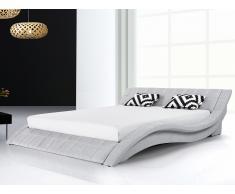 Lit design en tissu - lit double 180x200 cm - sommier inclus - Vichy - gris
