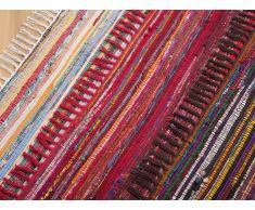 Tapis rectangulaire en coton - tapis design multicolore - foncé - 140x200 cm - Danca
