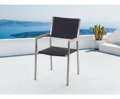Chaise de jardin - acier inox et rotin - Grosseto