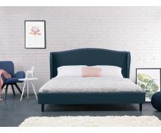 Lit double - Lit 160x200 cm - Lit en tissu bleu foncé - Colmar