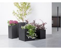 Cache-pot de fleurs - noir - accessoire de jardin - 30x30x60 cm - Wener