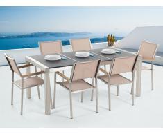 Table de jardin acier inox - plateau granit triple noir flambé 180 cm avec 6 chaises en textile beige - Grosseto