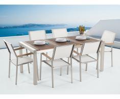 Table de jardin acier inox - plateau bois triple 180 cm avec 6 chaises en textile blanc - Grosseto