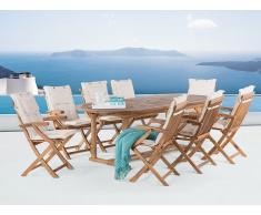 Table ovale et 8 chaises de jardin en bois - coussins beige - Java
