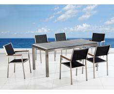 Table de jardin acier inox - plateau granit triple gris poli 180 cm avec 6 chaises en textile noir - Grosseto