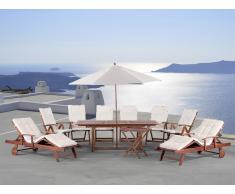 2 tables, 2 transats et 6 chaises de jardin en bois - coussins beiges et parasol inclus - Toscana