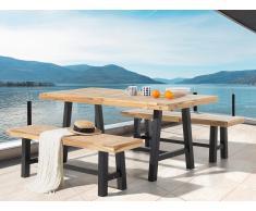 Table et 2 bancs de jardin en bois - noir - Scania