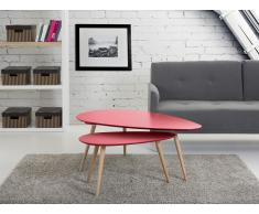 Tables basses - lot de 2 tables d`appoint - rouge - tables de salon - Fly