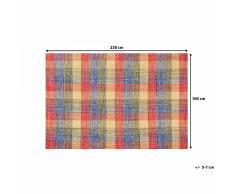 Tapis rectangulaire en coton - Tapis multicolore 160x230 cm - carreaux - Samsun