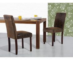 Chaise - Chaise salle à manger - Cuir vielli - Marron - Broadway