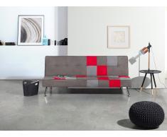 Canapé - Canapé convertible - Patchwork - Polyester - Gris et rouge - Olsker