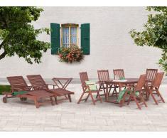 Ensemble de jardin, table ovale + 6 chaises en bois, 2 transats, 1 table d'appoint - Toscana