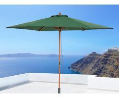 Parasol en bois - toile verte sans lambrequin - Toscana