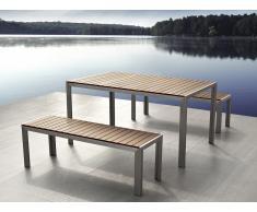Table de jardin aluminium brun - plateau en polywood 180 cm et 2 bancs - Nardo
