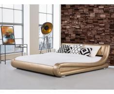Lit design en cuir - lit double or - 160x200 cm - sommier inclus - Avignon