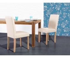 Chaise de salle à manger - chaise en cuir - beige - Broadway