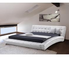 Lit design en cuir - lit double 160x200 cm - blanc - sommier inclus - Lille