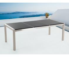 Table de jardin acier inox - plateau granit triple 220 cm noir poli - Grosseto