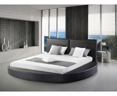 Lit design en cuir - lit rond 180x200 cm - noir - sommier inclus - Laval