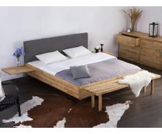 Lit design en bois - lit double 180x200 cm - gris - sommier inclus - Arras