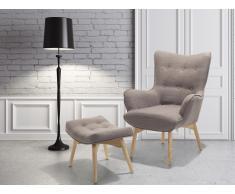 Fauteuil en tissu - Fauteuil tapissé brun gris- Repose-pieds - Vejle