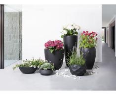 Cache-pot de fleurs - noir - accessoire de jardin - 55x55x19 cm - Muritz