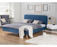 Lit en tissu - lit double 160x200 cm - bleu foncé - sommier inclus - Rennes