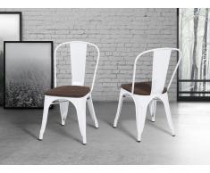 Chaise de salle à manger - chaise en bois et métal - blanc - Apollo