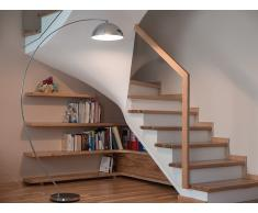 Lampadaire design - luminaire - lampe de salon - argenté - Kama