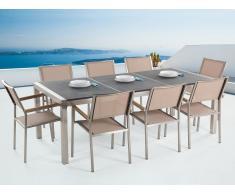 Table de jardin acier inox - plateau granit triple noir flambé 220 cm avec 8 chaises en textile beige - Grosseto