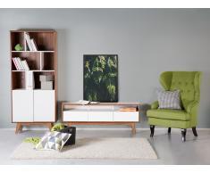 Meuble TV - meuble de rangement - blanc / noyer - Rochester