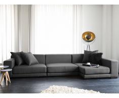 Canapé d'angle design - canapé en tissu gris foncé - Cloud (G)