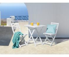 Table et 2 chaises de jardin en bois blanc - Fiji