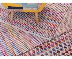 Tapis rectangulaire en coton - Tapis multicolore 140x200 cm - bariolé clair - Bartin