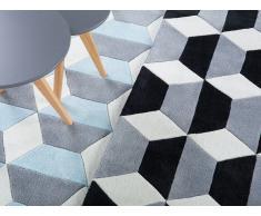 Tapis rectangulaire - tapis noir gris blanc - 80x150 cm - Antalya
